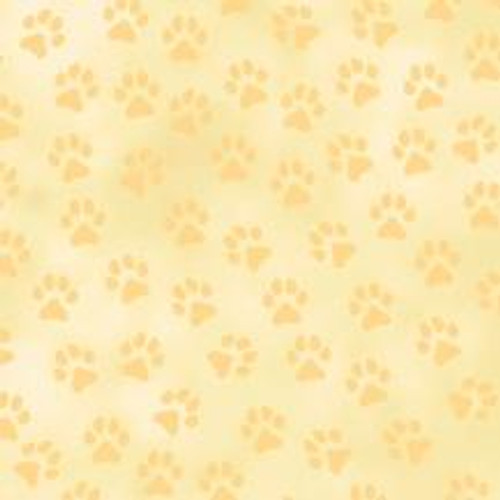 TAN PAW PRINTS ON BEIGE/LIGHT TAN FABRIC
