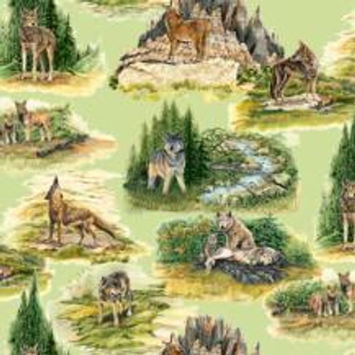SCENIC WOLVES FABRIC