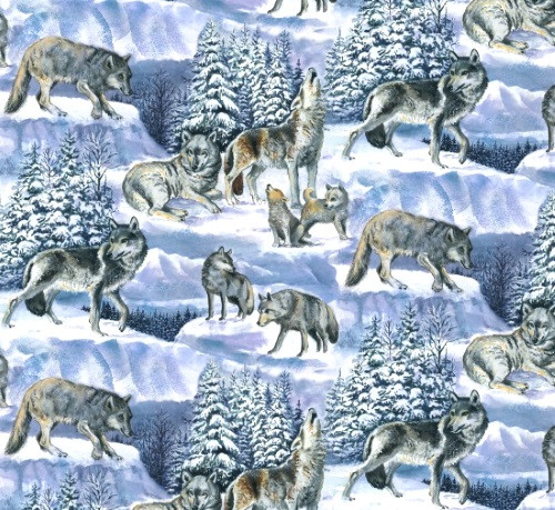 GREY AND BROWN WOLVES IN A SNOWY WOODS FABRIC