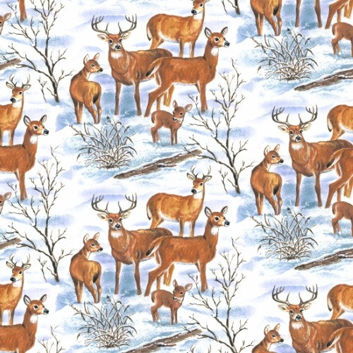 DEER IN A SNOWY MEADOW FABRIC
