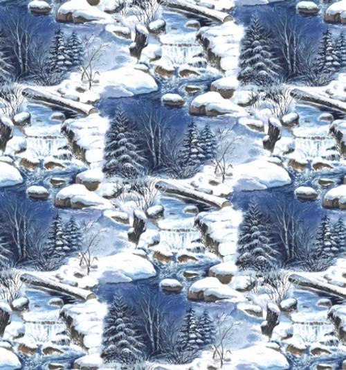 Scenic Creek Through A Snowy Woods Fabric 7347 11 Lt Blue