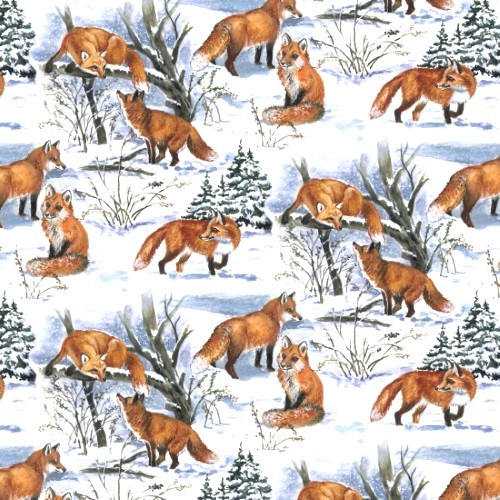FOXES IN A SNOWY WOODS FABRIC