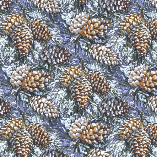 PINE CONES WITH SNOWY GREEN NEEDLES ON DEEP BLUE FABRIC