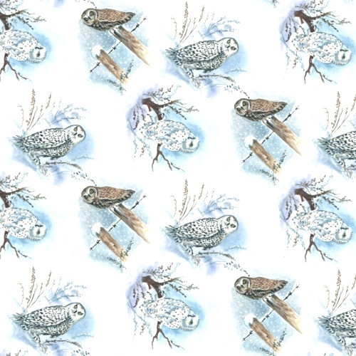 OWLS IN VARIOUS SNOWY SCENES FABRIC