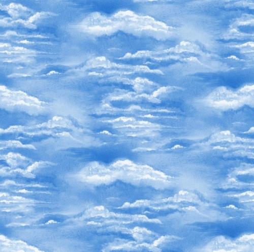 WHITE CLOUDS IN A BLUE SKY FABRIC