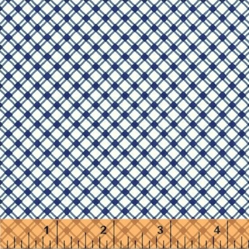 BLUE AND WHITE DIAMOND GRID FABRIC - 42198-1