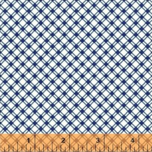BLUE AND WHITE DIAMOND GRID FABRIC - 42198-1