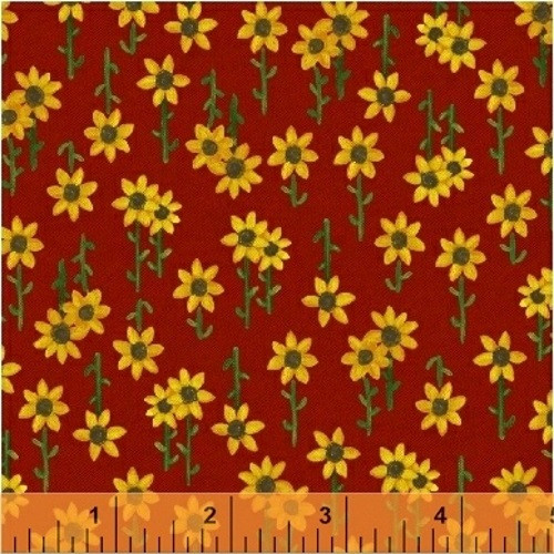 SUNFLOWERS ON RED FABRIC - 42658-4