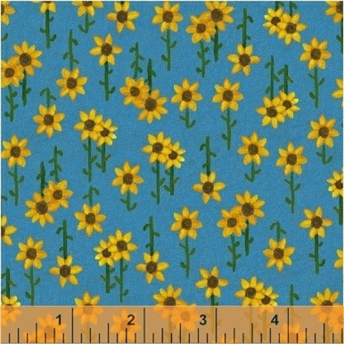 SUNFLOWERS ON BLUE FABRIC - 42658-5