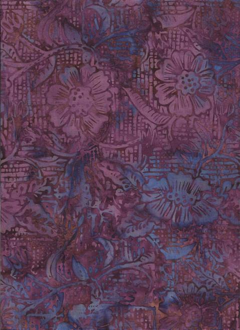 PURPLES, BROWNS & BLUES FLORAL BATIK FABRIC - 2349