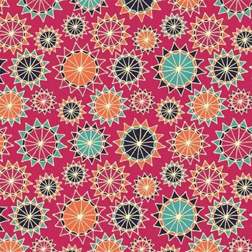 MULTICOLOR STARBURSTS ON PINK FABRIC