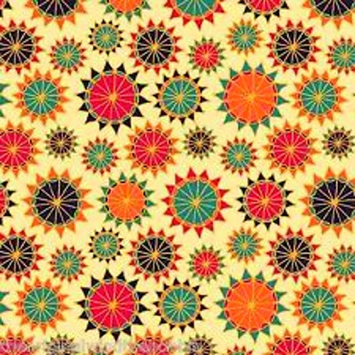 MULTICOLOR STARBURSTS ON BEIGE FABRIC