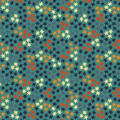 MULTICOLOR STARFLOWER ON BLUE FABRIC