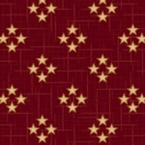 TAN FOUR STAR CLUSTERS ON RED FABRIC