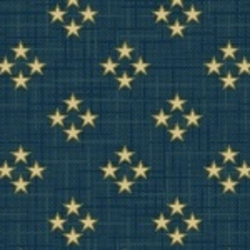 TAN FOUR STAR CLUSTERS ON BLUE FABRIC