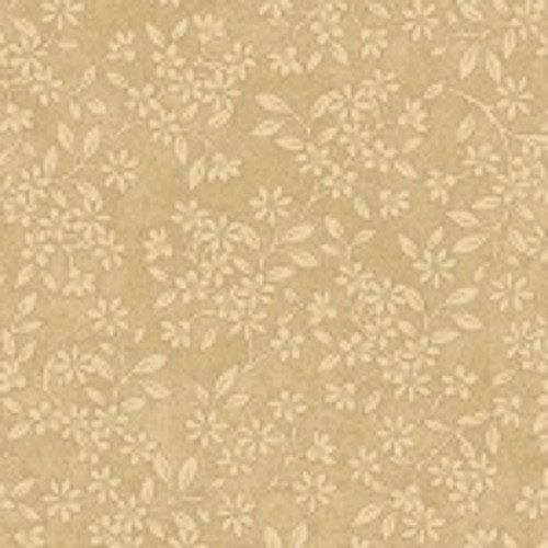 BEIGE FLOWERS ON TAN FABRIC