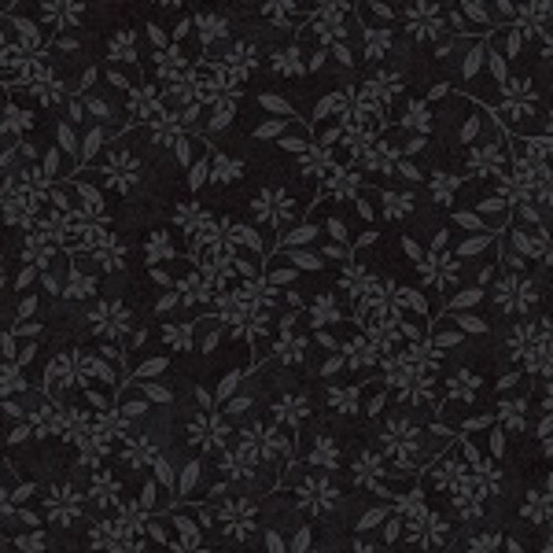 GREY FLOWERS ON BLACK FABRIC