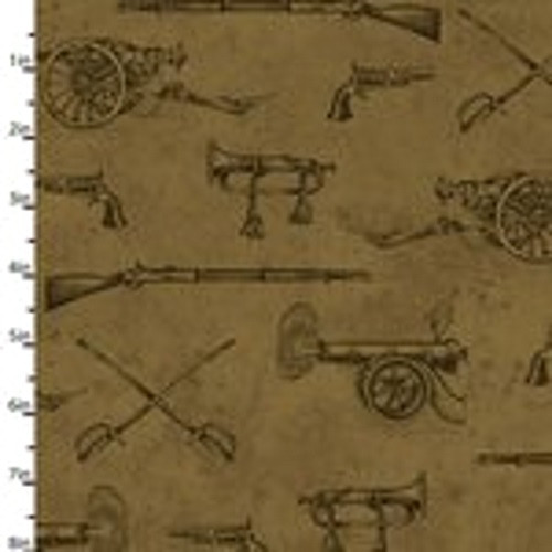 WEAPONS OF THE CIVIL WAR ON BROWN FABRIC