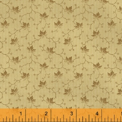 BROWN MAPLE LEAF-LOOK ON TAN FABRIC