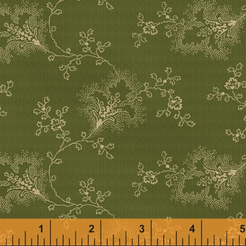 TAN FLORAL AND LEAF DESIGN ON GREEN FABRIC