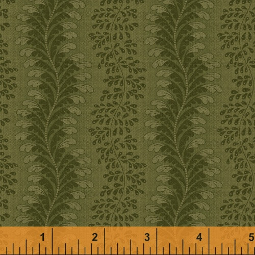 WAVY FEATHERS AND LEAF STRIPS ON GREEN FABRIC
