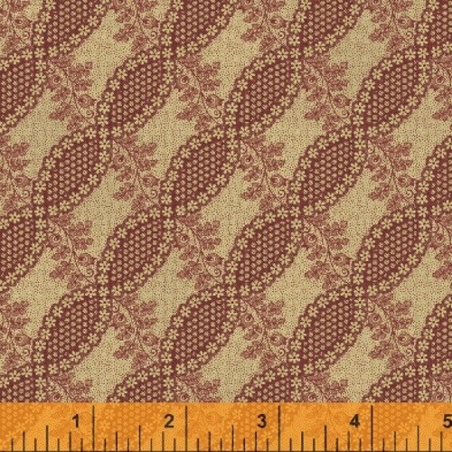 RED FLORAL TWIST DESIGN ON TAN FABRIC