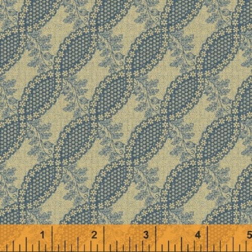 BLUE FLORAL TWIST DESIGN ON TAN FABRIC