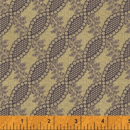 PURPLE FLORAL TWIST DESIGN ON TAN FABRIC