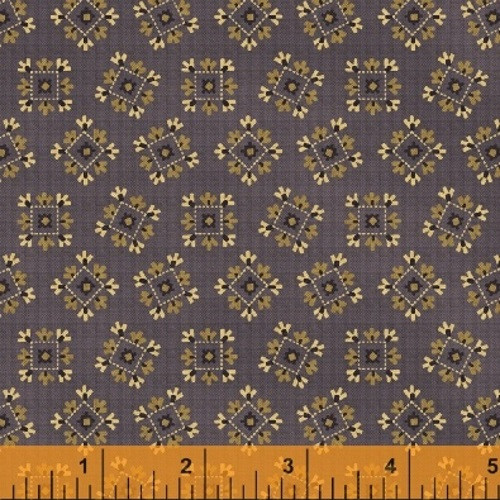 TAN, BLACK AND WHITE QUILT BLOCK-LOOKING DESIGNS ON PURPLE FABRIC