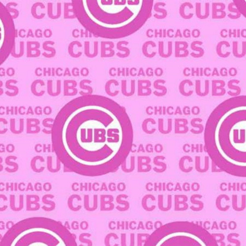 "CHICAGO CUBS MLB PINK COTTON FABRIC - 60"" Wide - 60397-B"