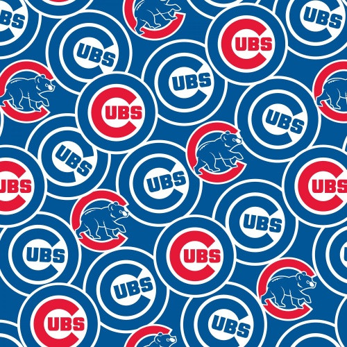 "TOSSED ""CUBS"" LOGOS WITH CUBBY BEAR LICENSED FABRIC"