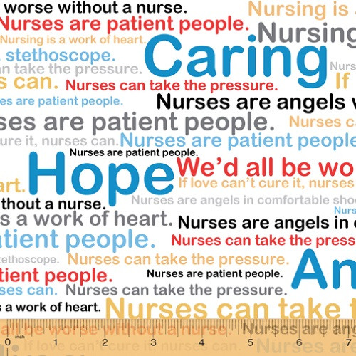 NURSE SAYINGS ON WHITE FABRIC