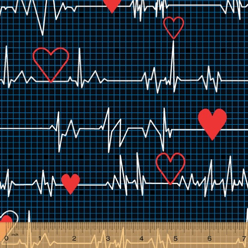 "HEART BEAT ""EKG"" IN WHITE WITH LIGHT BLUE GRID ON BLACK FABRIC"