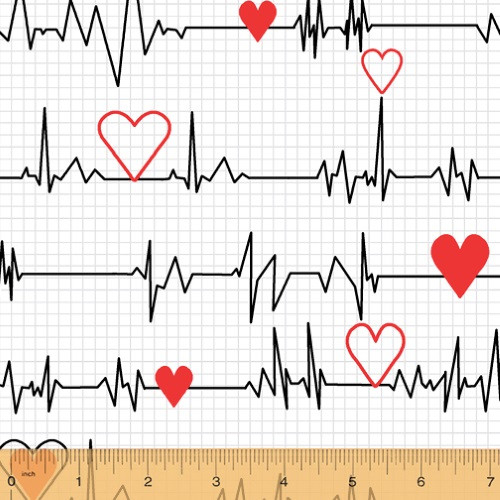"HEART BEAT ""EKG"" IN BLACK WITH LIGHT BLUE GRID ON WHITE FABRIC"