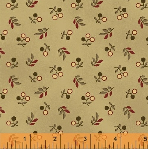 RED, GREEN AND TAN BERRIES AND STEMS ON TAN FABRIC