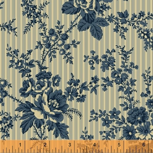 LARGE BLUE FLOWERS ON LIGHT TAN WITH BLUE PINSTRIPES FABRIC