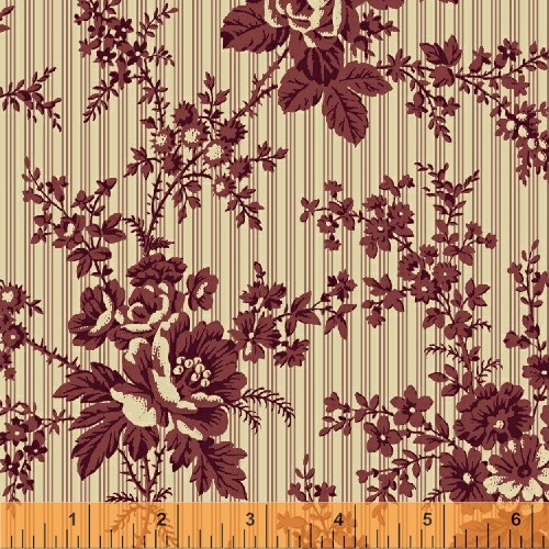 LARGE RED FLOWERS ON LIGHT TAN WITH RED PINSTRIPES FABRIC