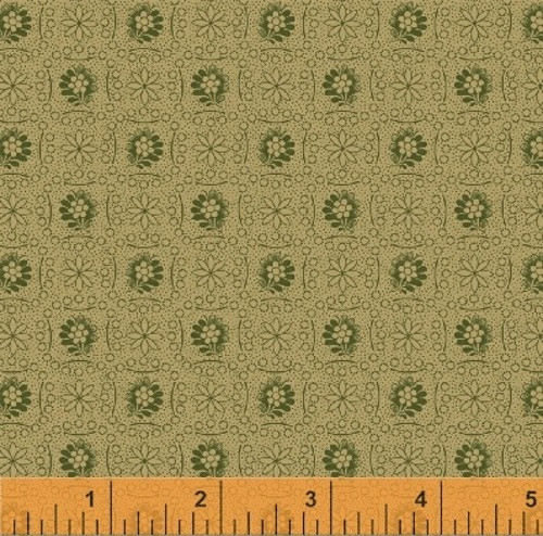 GREEN FLOWERS AND GEOMETRICS ON LIGHT TAN FABRIC