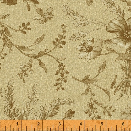 BROWN AND WHITE FLORAL DESIGN ON TAN FABRIC - 36228-2