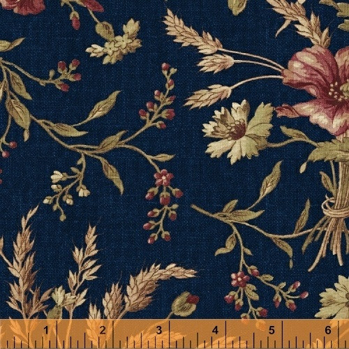 RED, BROWN AND TAN FLORAL DESIGN ON NAVY BLUE FABRIC - 36228-1