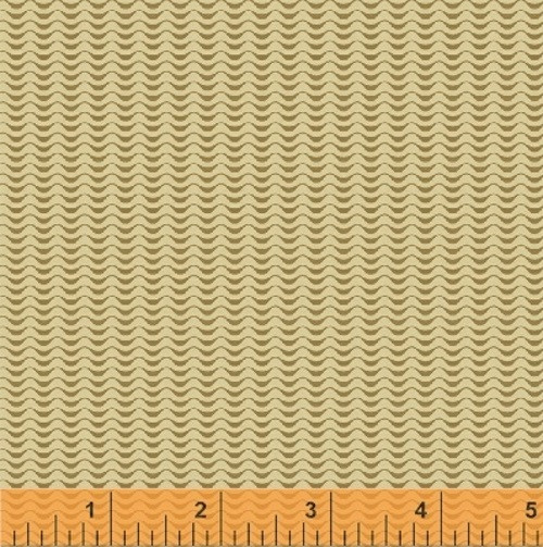 GOLD WAVY SCALLOPS ON TAN FABRIC - 36236-2