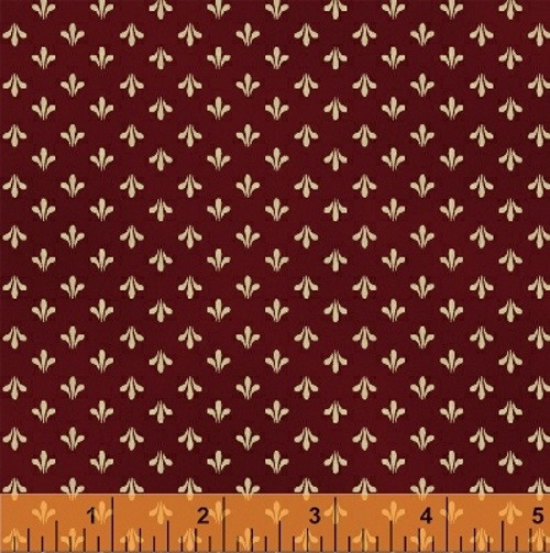 TAN FLEUR DESIGN ON RUSTY RED FABRIC - 36235-3