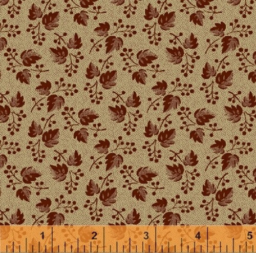 RUSTY RED ON TAN WITH TINY RED DOTS FABRIC - 36241-3
