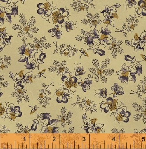 PURPLE AND GOLD FLORALS ON TAN FABRIC - 36239-5