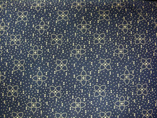 TAN FLOWERS WITH STARS AND DOTS ON BLUE FABRIC - GERA-00576