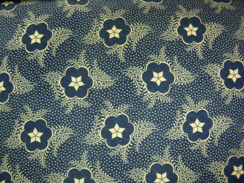 TAN STARS WITH SCALLOPS, FERN-LIKE LEAVES AND DOTS ON BLUE FABRIC - GERA-00572