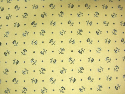 BLUE FLOWERS ON TAN FABRIC - GERA-00575