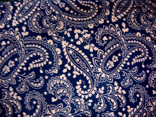 TAN PAISLEY PATTERNS ON BLUE FABRIC - GERA-00579