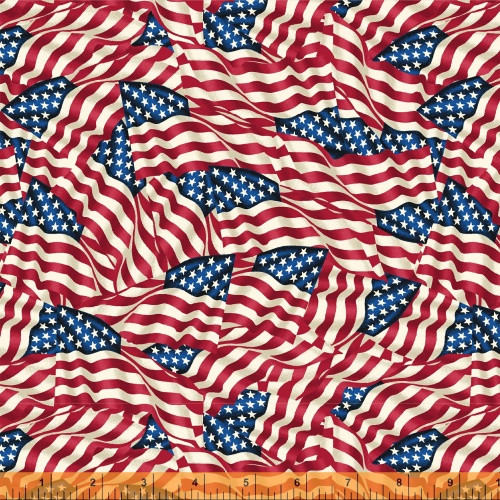 "TOSSED AMERICAN FLAGS 108"" WIDE BACKING FABRIC - 42465-X"