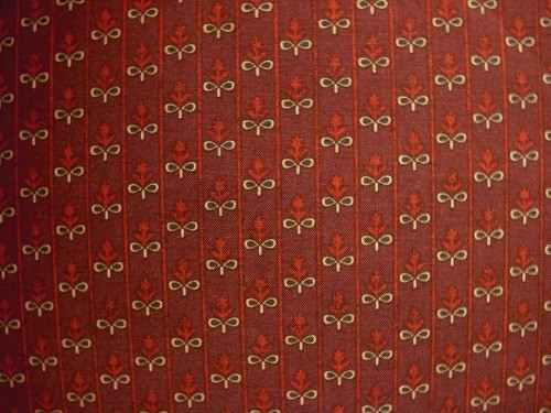 RED AND TAN FLORAL PATTERN WITH STRIPES ON RED FABRIC - C235-80-RED